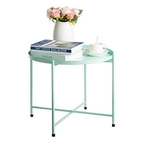 HollyHOME Round Tray Metal End Table, Anti-Rust and Waterproof Indoor&Outdoor Snack and Coffee Table, Accent Tea Table, Sofa Table for Living Room, (D)18.27' x (H)16.5', Blue
