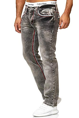 OneRedox Herren Jeans Denim Regular Fit Used Design Modell 5166 32