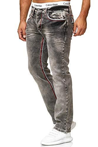 OneRedox Herren Jeans Denim Regular Fit Used Design Modell 5166 34