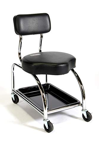 ShopSol 3010001 Heavy Duty Mechanics Stool with Backrest and Tool Tray. 450-Pound Capacity