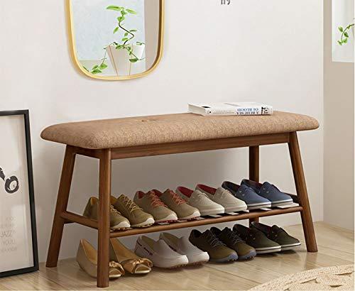 HFDJ Taburete para Cambiar Zapatos, cojín de algodón y Lino, cómodo para Cambiar Zapatos, Zapatero de Dos Capas, Taburete para Cama, Utilizado en Sala de Estar, Dormitorio, Pasillo, Entrada