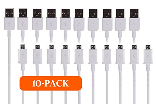 TekSonic 10-Pack Micro USB Cable Wholesale Lot (Bulk Discount) - 1 M/3.3 ft Universal Charging Sync and Charge Micro USB to USB A cords, Data cable for Samsung Galaxy, HTC, LG, Android, Windows Phone