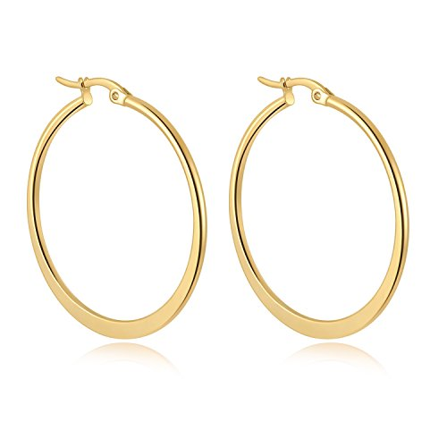 Yumay 9ct Yellow Gold Round Hoop Earrings,40mm Big Creole Earrings for Women Premium Fashion Jewelry.
