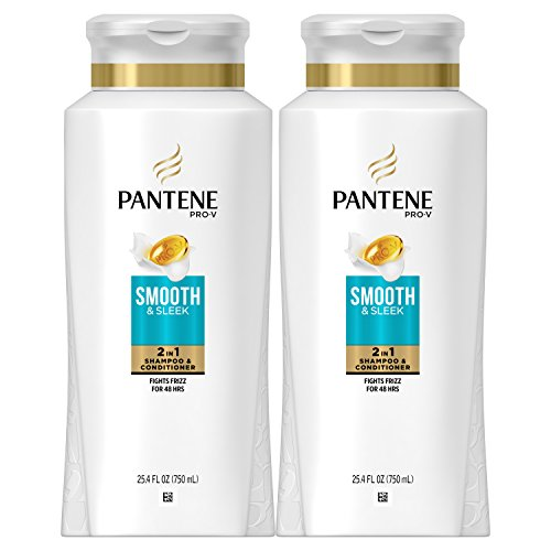 Pantene Argan Oil Shampoo for Frizz Control, Smooth and Sleek, 25.4 Fl Oz (Pack of 2)
