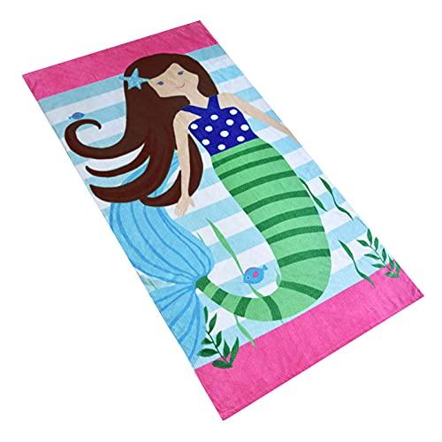 Baogaier Toalla de Playa Sirena - Toalla de Baño Personalizada Rosado - 80 x 160 cm Algdón Grande Toalla de Deportes Manta de Playa para Infantil Niños Adultos Natacion Surf Regalo Vacaciones e Viajar