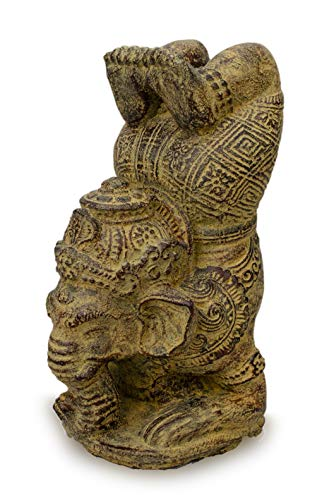 FaHome Ganesha Stein Skulptur Yoga Figur Gottheit Glück Statue ca. 25 cm Elefant
