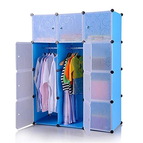 Kleiderschrank aus Kunststoff DIY Regalsystem Garderobenschrank Steckregalsystem Garderoben Steckregal Aufbewahrung, 12 Würfeln mit Türen, Blau