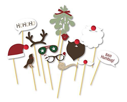 SUNBEAUTY Brille Bart Fotorequisiten Photo Booth Props Weihnachtsmann Elch für Geburtstag Party