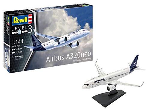 Revell REV-03942 Airbus A320 neo Lufthansa New Livery, Flugzeugmodellbausatz 1:144, 26,1 cm Modelmaking, unlackiert