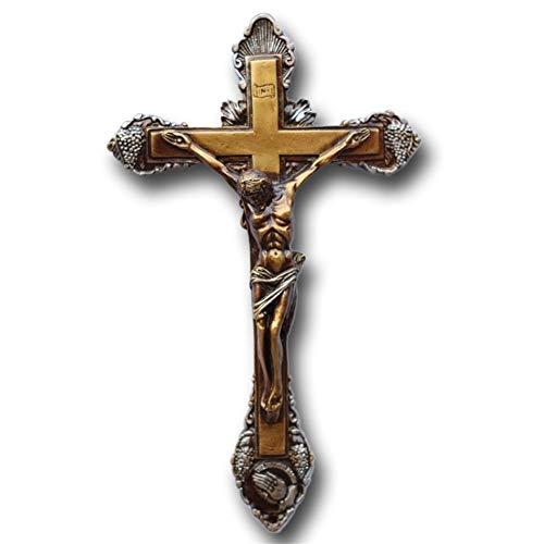 LUOSI Cristo Emanuel Sinagoga Católica Crucifijo Estatua De Resina Adornos Decorativos De Pared Transversal Grande Collares (Color : Bronze)