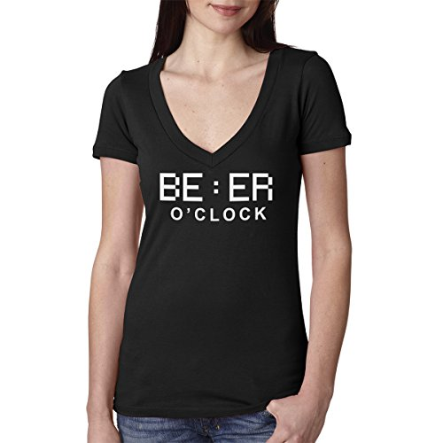 Decal Serpent Beer O'Clock - Camiseta de algodón con cuello en V para mujer,...
