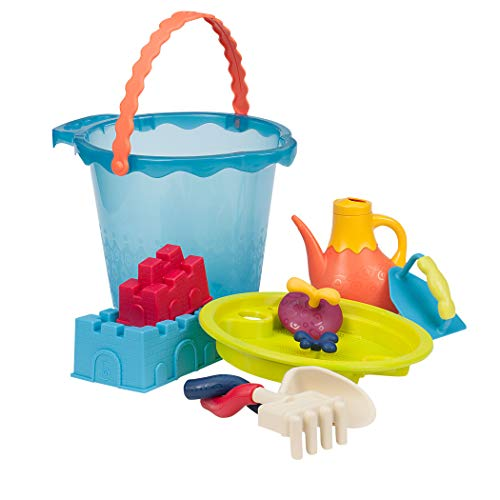 b toys toddlers toys B. Toys – Shore Thing – Large Beach Playset – Large Bucket Set (Sea Blue) with 11 Funky Sand Toys for Kids – Phthalates Free – 18 M+
