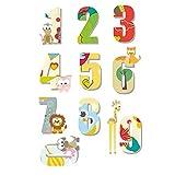 NACOLA Cartoon Animal Numbers Wall Decals DIY Removable Vinyl Wall Stickers for Kids Nursery Bedroom