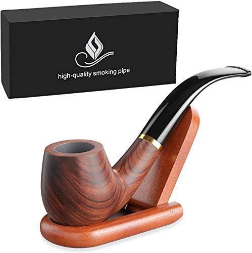 joyoldelf Pipas de Fumar de Madera del Tabaco, Pipa de Madera de Pera con Soporte de Madera con Caja de Regalo