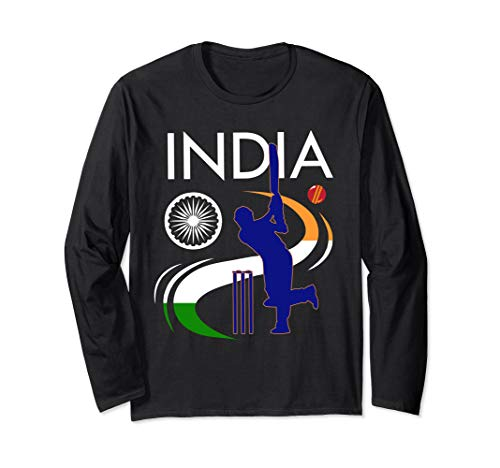 India Cricket With Indian Flag Brush Stroke Langarmshirt