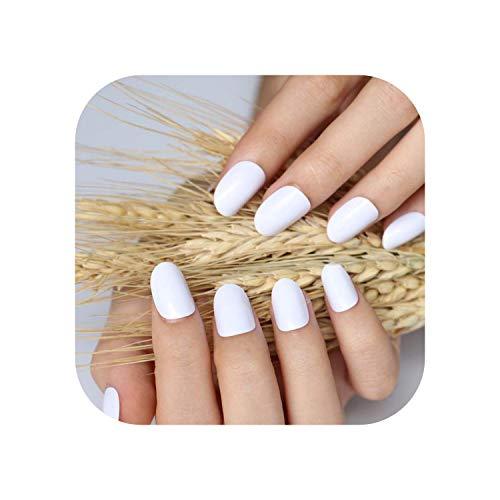 2020 24pcs heißes neues Design schöne zarte ovale Süßigkeiten niedliche künstliche Nägel Nagelfarbe Weiß P W X.-1pcs-