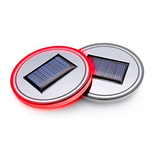 XINGYI 2pcs Solar Energy Car Logo LED Lights Cup Holder Pad Mat Lamp Trim Light Interior Decoration Lighting Lamps for 2018 2017 Koleos Renault kadjar captur Fluence Latitude Megane Talisman
