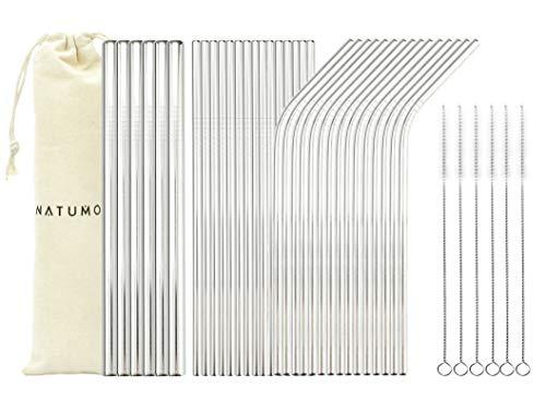 NATUMO®, cannucce in acciaio inox riutilizzabili, set di 36 cannucce dritte e curve, con 6 spazzole e 3 sacchetti
