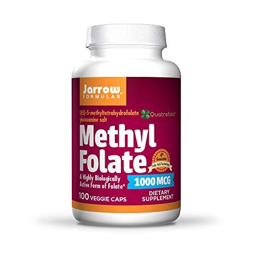Jarrow Formulas Methyl Folate 1000 mcg - 100 Veggie Caps - Highly Biologically Active Form of Folate - 4th Generation Folic Acid Technology - 100 Servings