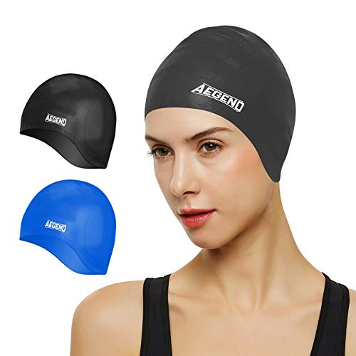 Aegend Unisex Swim Caps Cover Ears (2 Pack), Durable & Flexible Silicone Swimming Caps for Long Hair & Short Hair?Easy to Put On and Off, Black Blue