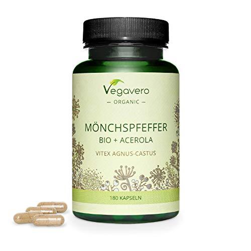 AGNOCASTO BIO Vegavero® | 25 mg | L'UNICO BIOLOGICO | con Vitamina C naturale | Ciclo Mestruale & Menopausa | 180 capsule | Vegan