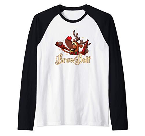 Brewdolph Funny Drinking Reindeer Cerveza artesanal navideña Camiseta Manga Raglan