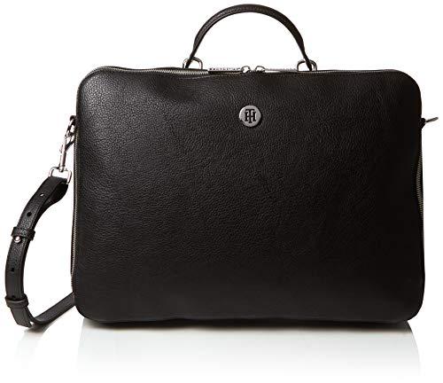 Tommy Hilfiger Th Core Laptop Bag, Sacs pour ordinateur portable femme, Noir (Black/Silverfiligree), 5x28.5x38.5 cm (B x H T)