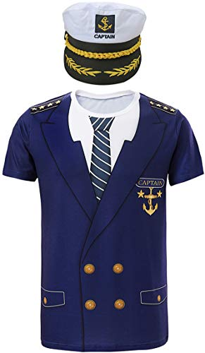 COSAVOROCK Herren Kapitän Kostüm T-Shirts mit Kapitän Hüte (XXL, Marineblau)