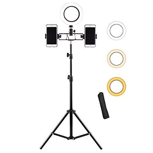 Ring Light 6 Pulgadas Con Trípode (82'alto) - Titulares De Teléfono Dual Anillo De Luz LED Selfie Para Grabación De Vídeo,Conferencia,Maquillaje,Iphone,Portátil,Computadora,Webcam-Un 82 pulgadas