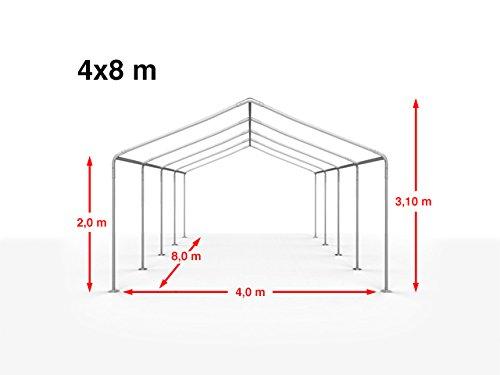 TOOLPORT Partyzelt Pavillon 4x8 m in weiß 180 g/m² PE Plane Wasserdicht UV Schutz Festzelt Gartenzelt - 8