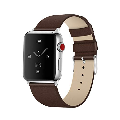 Tohsssik Leather Bands for Apple Watch Band 42mm 44mm Men & Women Sport Genuine Leather Strap Replacement Band Compatible for iWatch Series 5 4 3 2 1, Deep Brown
