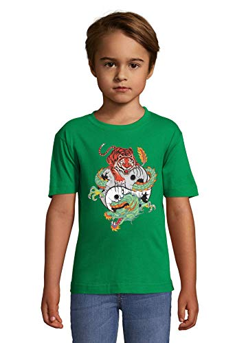Luckyprint Tiger and Dragon Yin and Yang Balance Graphic Green Kids Colorful T-Shirt 2 Year Old