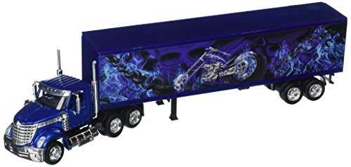 New-Ray 1:43 Long Haul Trucker - International Lonestar Container with Motorcycle Design