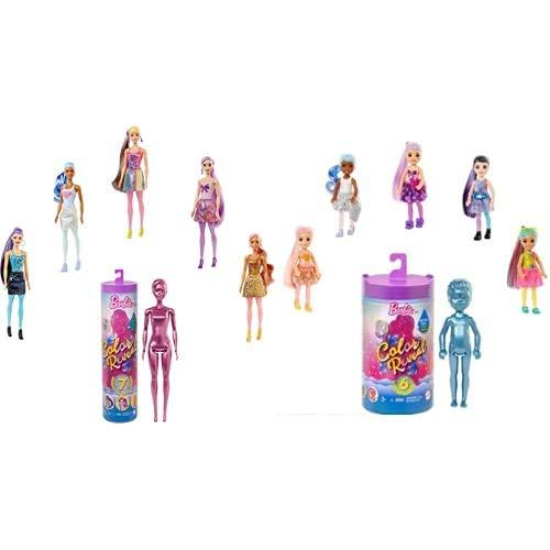 Barbie Color Reveal poupée avec 7 éléments mystère, modèle aléatoire (GTR93) et Barbie Color Reveal Mini-Poupée Chelsea avec 6 éléments Mystère (GTT24)