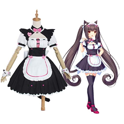Anime Chocola Cosplay Chocola Vanilla Maid Dress Costume Cat Neko Girl Cosplay Women Costume Fashion wig Game XL Chocola Costume