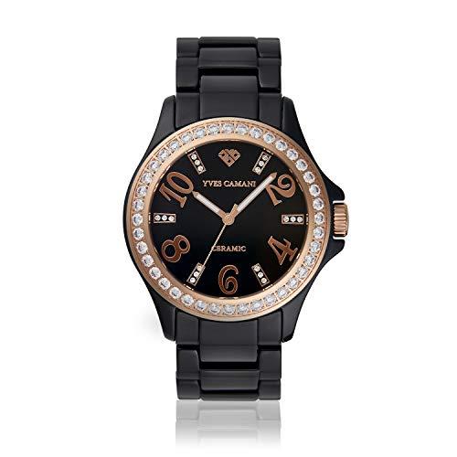 YVES CAMANI Cereste Damen-Armbanduhr Analog Quarz Schwarzes Keramik-Armband (Keramik - Schwarz/Rosé)