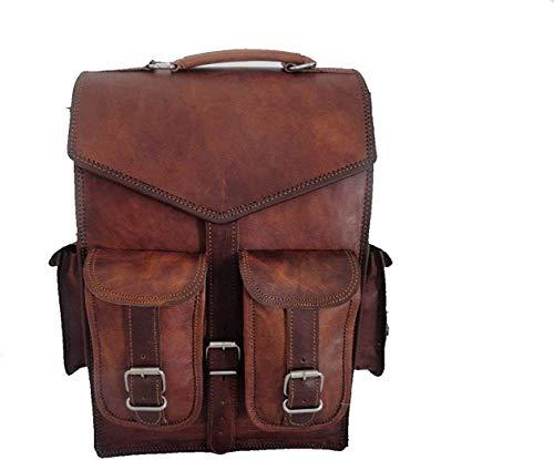 Alaska exports Brown Vintage Leather Backpack Laptop Messenger Bag Rucksack Sling for Men Women