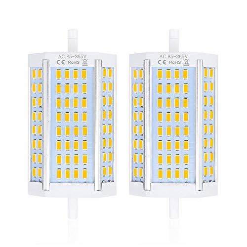 Bonlux 25W R7S 118MM Ampoule LED Projecteur Double Culot 200 degrés Rs7 J118 Lampe Linéaire 2500lm 200W Halogène Remplacement Blanc Chaud 3000K(lot de 2,Non-Dimmable