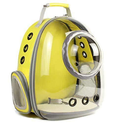 Tragetasche für Katzen, Weltraumkapsel, Luftpolster-Rucksack für kleine Hunde, transparent, wasserfest, für Katzen, Wandern, Reisen, von der Fluggesellschaft zugelassen, X-Large, Bubble Yellow