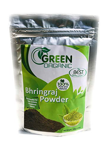 Bhringraj polvo natural para la pérdida de cabello | Tratamiento de crecimiento | Producto para hombres y mujeres | Tinte negro brillante para el cabello potenciador de color | 100 g