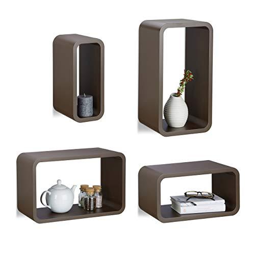 Relaxdays Hängeregal 4er Set, Wandregal Cube in 4 Größen, Holzregal im Hoch- & Querformat aufhängen, Deko, MDF, braun