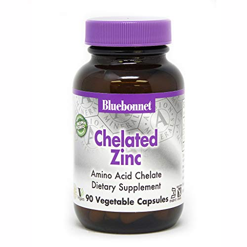 BlueBonnet Albion Chelated Zinc Vegetarian Capsules, 30 mg, 90 Count ('743715006805)
