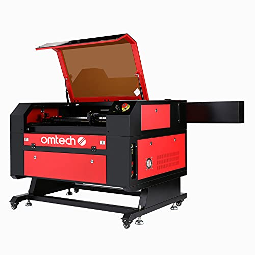 OMTech 100W CO2 Laser Engraver Cutter 20 x 28in. Work Area Laser Engraving Machine with Ruida LCD Control RDWorks V8 Real-Time Data Power, USB Port, Auto Shutdown, Built-in Air Compressor