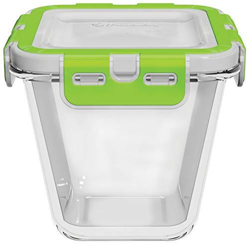 Pasabahce Aufbewahrungsbox Storemax 53812 Glas Vorratsbehälter Vakuum Dose Grün 130mm x 130mm x 115mm Verstau Box