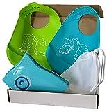 Colmo - Juego de 2 baberos de silicona con bolsillo y reductor de WC plegable para niños turquesa