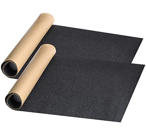 Bestkiy 2 Sheet Skateboard Grip Tape 33x9 inch Black, Waterproof and Bubble Free Longboard Scooter Deck Griptape with Adhesive,Anti Slip Abrasive Paper Grip Tape(2 Pack)