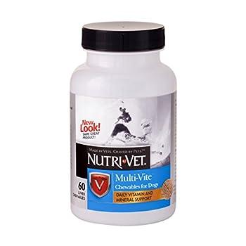 Nutri-Vet Multi-Vite Lot de 60 friandises à mâcher pour Chiens Formulées avec des vitamines et des minéraux pour Soutenir Une Alimentation équilibrée