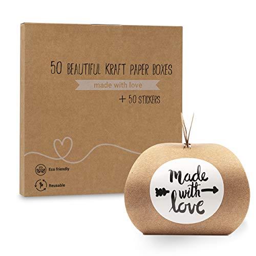 """Plantvibes® Cajas de regalo de papel kraft antiguo, cajas de regalo pequeña con la pegatina""""Made with Love"""""""