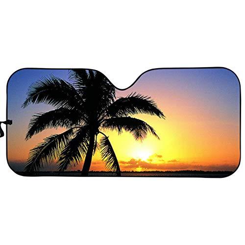 COEQINE Sombrillas para ventana automotriz, parasol de playa, para parabrisas de coche, con impresión de palmera, parabrisas delantero plegable, bloquea rayos UV, protector de visera