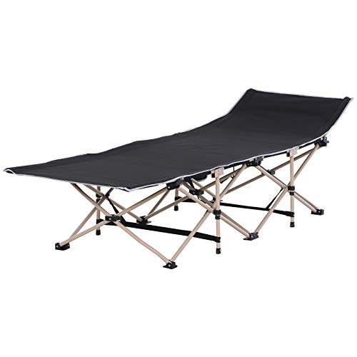 Outsunny Single Person Camping Folding Cot Outdoor Patio Portable Military Sleeping Bed Travel Guest Leisure Fishing with Side Pocket and Carry Bag Black